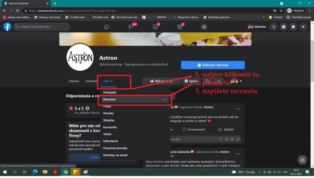 Recenzia na Facebooku - Astron