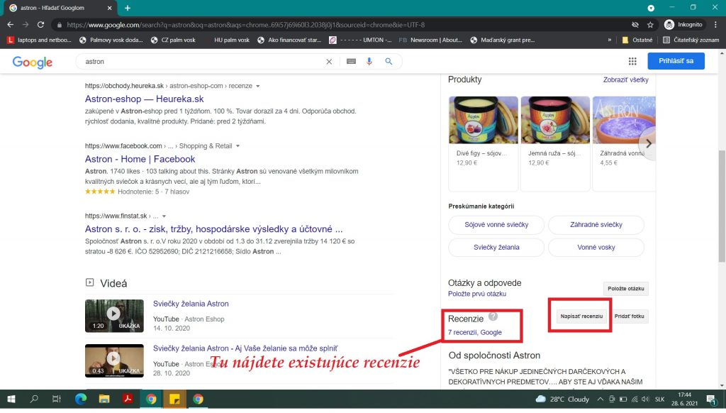 Recenzie Astron v Googli